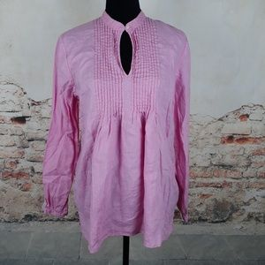 Chaps L Pink 100% Linen Pullover Keyhole Blouse